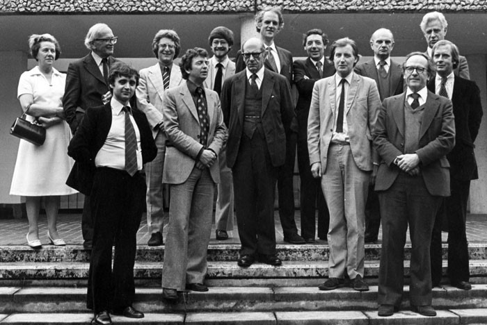 Hardy and Berlin (centre, Hardy with dark tie) with contributors to Berlin's first Festschrift, Wolfson College, Oxford, June 1979 / Photo by Sandra Burman